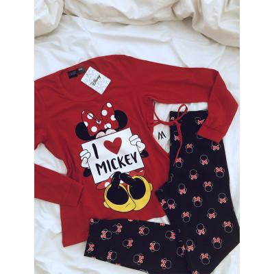 Pijama manga larga, patalon con puño Minnie