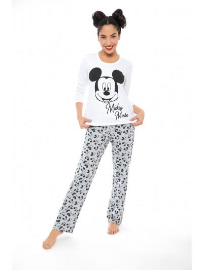 Pijama manga larga con pantalon recto Mickey